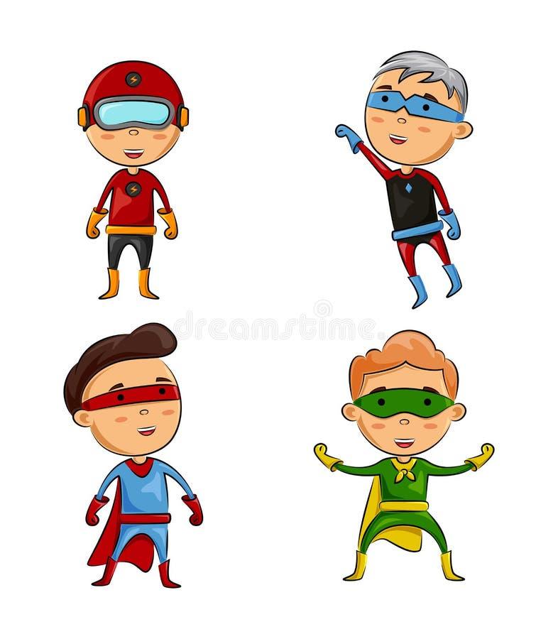 Śliczny cztery dzieciaka jest ubranym bohaterów kostiumy z różną pozą ilustracji