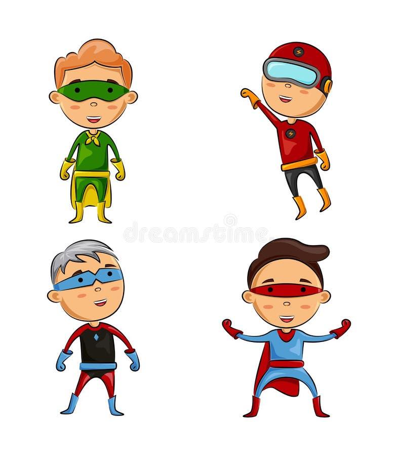 Śliczny cztery dzieciaka jest ubranym bohaterów kostiumy z różną pozą ilustracja wektor