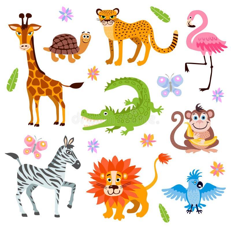 Śliczny dżungli i safari zwierząt wektorowy ustawiający dla dzieciaków rezerwuje ilustracji