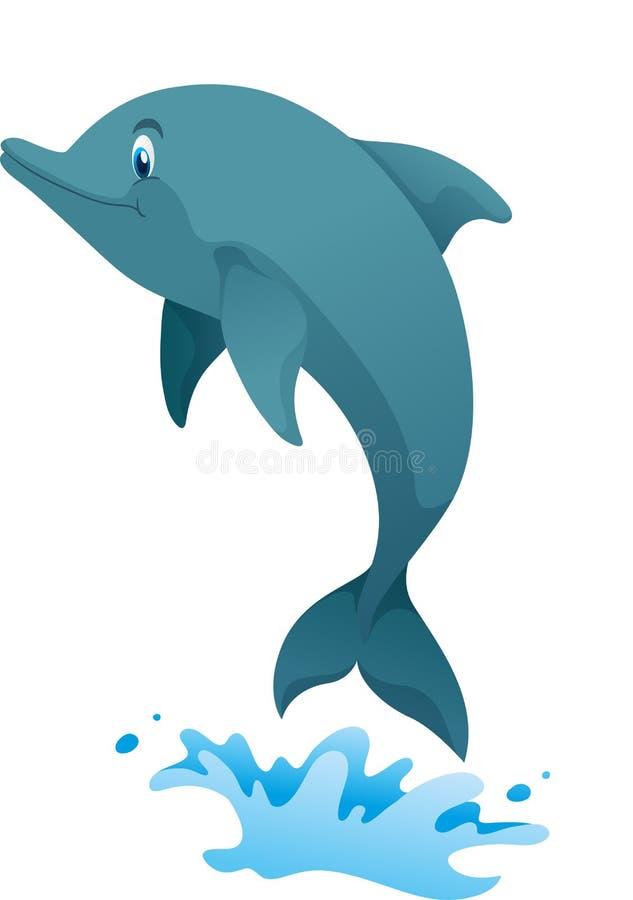 Śliczny delfin skacze up royalty ilustracja