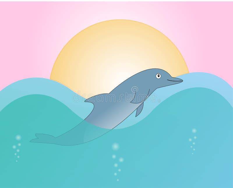 Śliczny delfin w fala zdjęcie royalty free