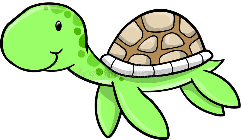 śliczny dennego żółwia wektor ilustracja wektor