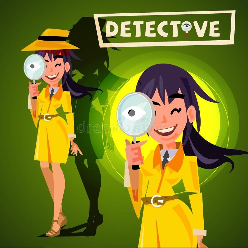 Śliczny detektywistyczny dziewczyny mienia powiększać - szkło watchin charact royalty ilustracja