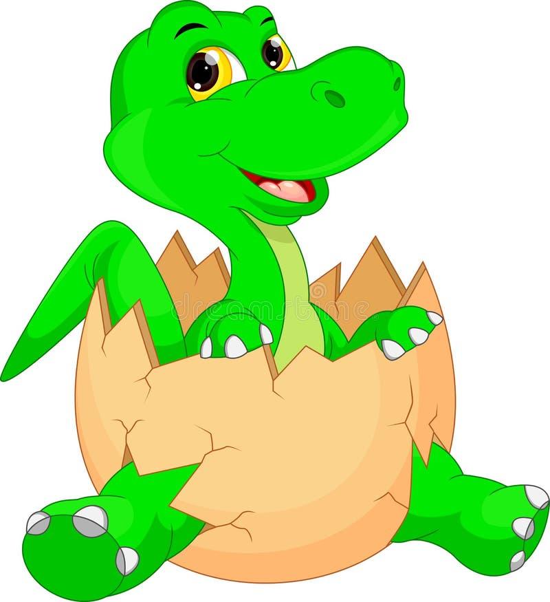 Śliczny dinosaur kreskówki kluć się ilustracja wektor