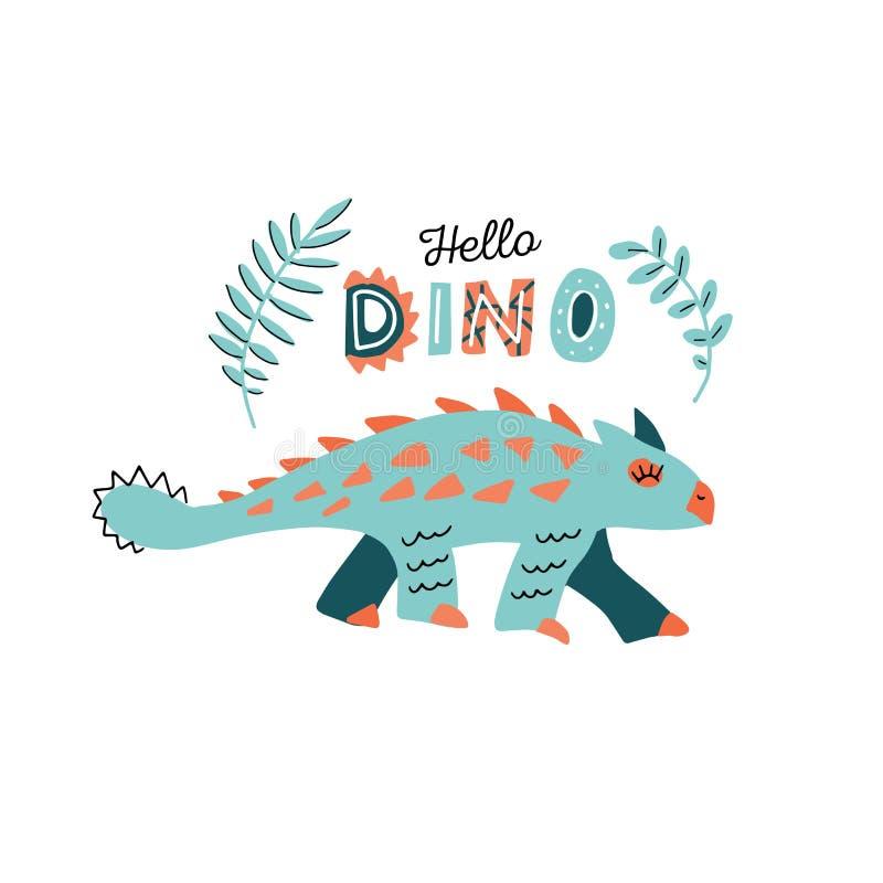Śliczny dinosaur z kolcami barwi ręka rysującego wektorowego charakteru Cześć Dino ręcznie pisany literowanie Dino p?aski handdra ilustracji