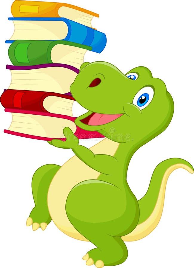 Śliczny dinosaur z książką ilustracji