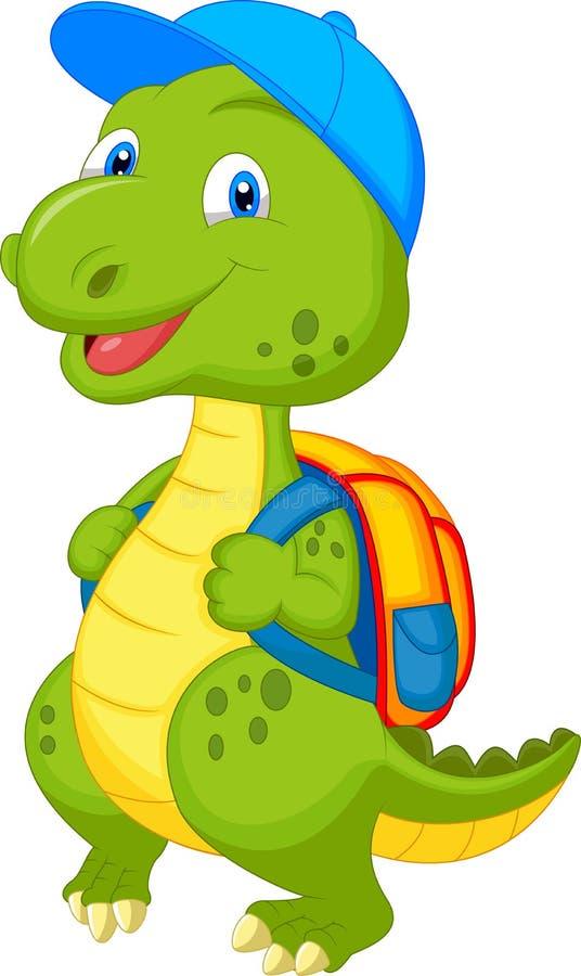 Śliczny dinosaur z plecakiem ilustracja wektor