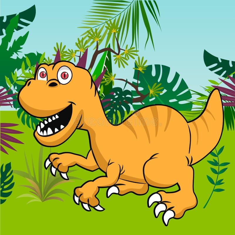 Śliczny dinosaur z tropikalnym lasowym tłem ilustracji