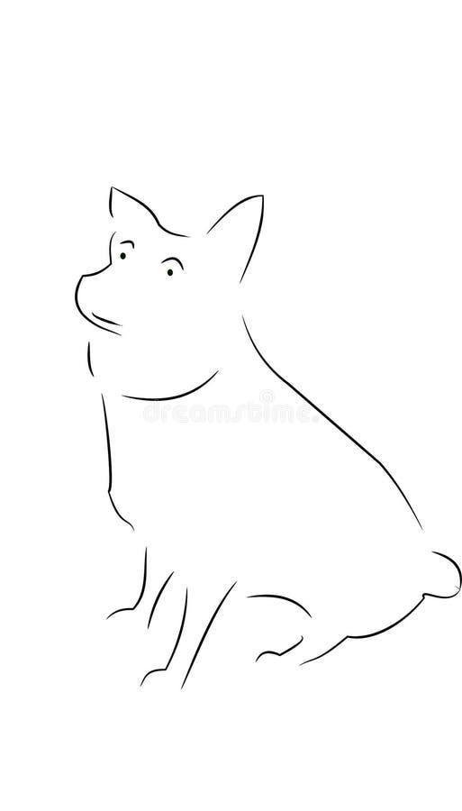 Śliczny, doggy, zwierzę domowe kontur ilustracji