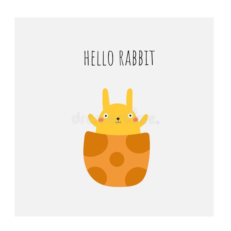 Śliczny doodle Easter, wiosny karta, pocztówka, etykietka, plakat z królikiem, jajko, pisze list wycenę ilustracji