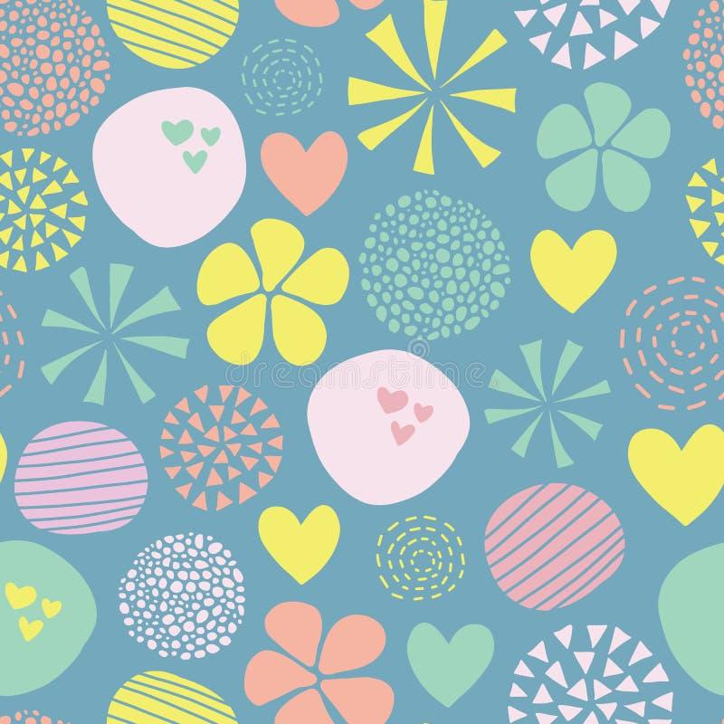 Śliczny doodle wektoru wzór z kwiatami, kropki, serca w menchiach, kolor żółty, zieleń, błękitna bezszwowy abstrakcyjne tło ręka  ilustracji