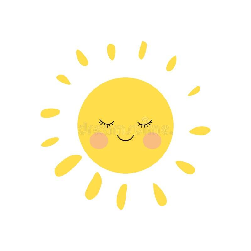 Śliczny dosypianie i uśmiechnięty mały słońce charakter z różowymi policzkami i śmiesznymi batami prosty ilustracja wektor