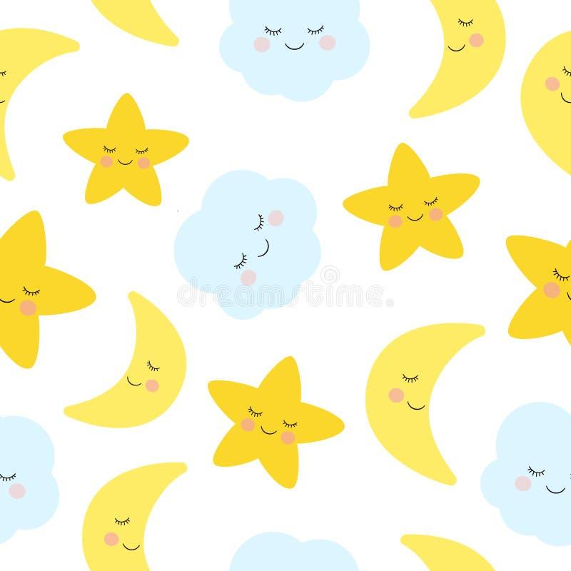 Śliczny dosypianie, uśmiechnięta mała gwiazda, księżyc i bezszwowy wzór, ilustracja wektor