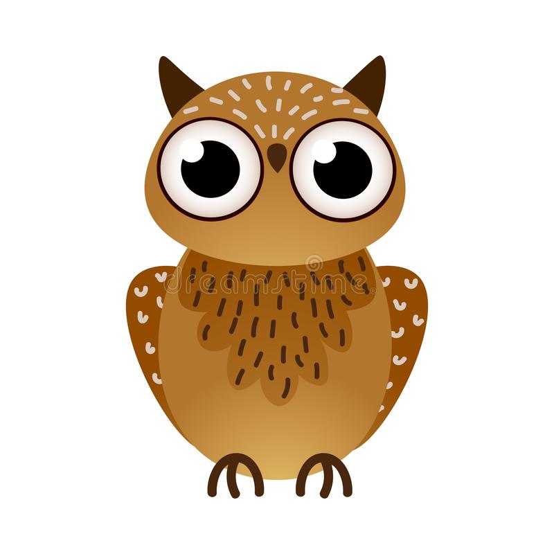 Śliczny duży brąz sowy ptak z podbitymi oczami ilustracji