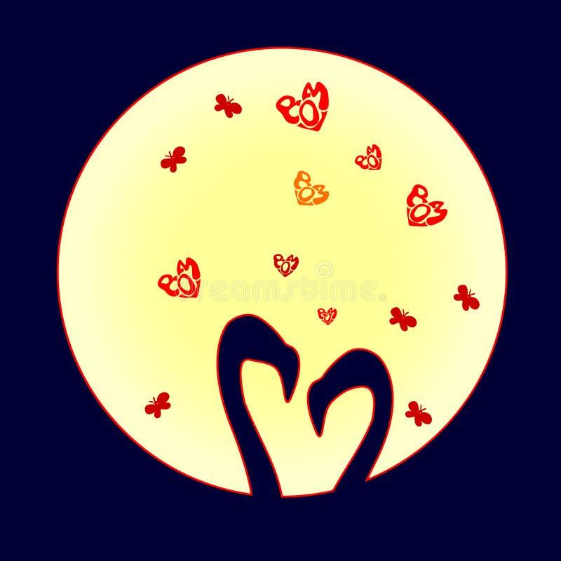 Śliczny dwa sylwetka flaminga w miłości są Wektorowa ilustracja odizolowywająca na księżyc tle kreskówka Mały Czerwony serce na w ilustracji