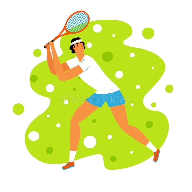 Śliczny dynamiczny mężczyzny gracz w tenisa ilustracji