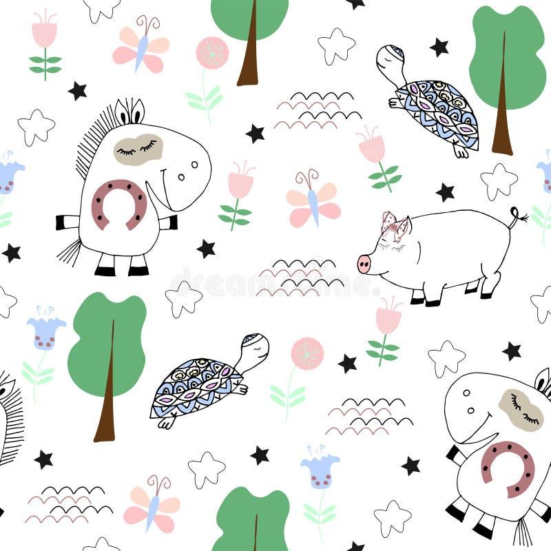 Śliczny dziecięcy bezszwowy wzór z śmiesznymi zwierzętami ilustracja wektor