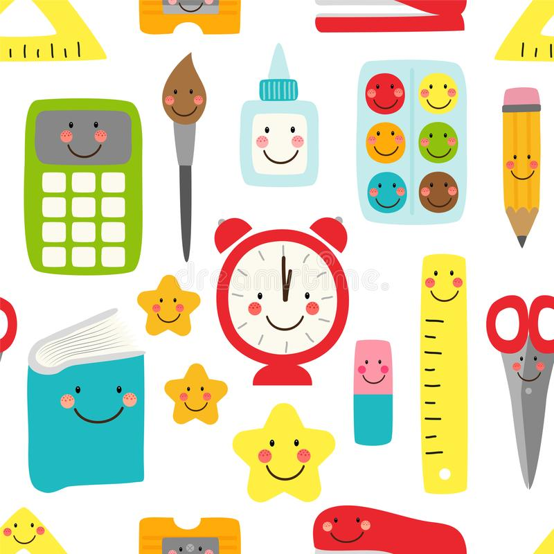 Śliczny dziecięcy bezszwowy wzór Z powrotem szkół dostawy jako uśmiechnięci postać z kreskówki royalty ilustracja