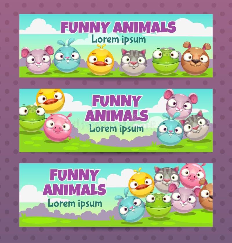 Śliczny dziecięcy ilustracja set Horyzontalni sztandary z śmiesznymi kreskówki round zwierzętami ilustracji