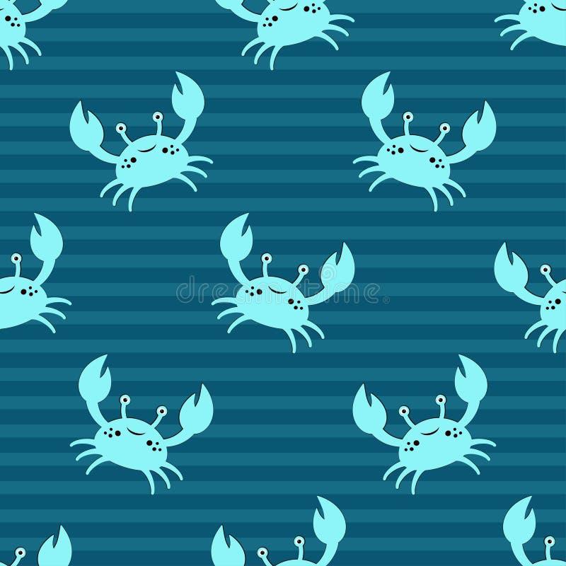 Śliczny dzieciaków krabów wzór ilustracja wektor