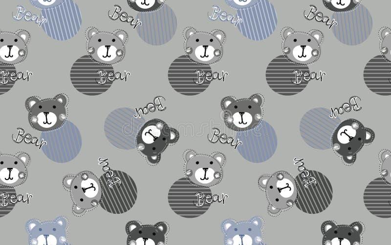 Śliczny dzieciaka niedźwiedzia wzór dla chłopiec Kolorowy niedźwiedź na abstrakcjonistycznym tle tworzy zabawy kreskówki rysunek ilustracja wektor