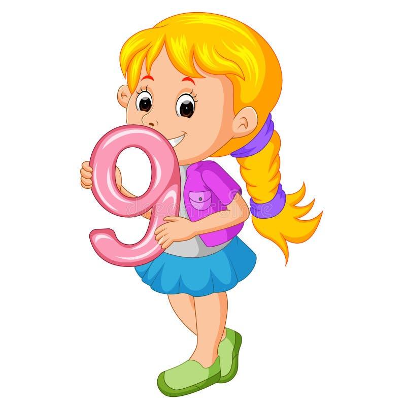 Śliczny dziecka mienia balon z liczbą dziewięć ilustracji
