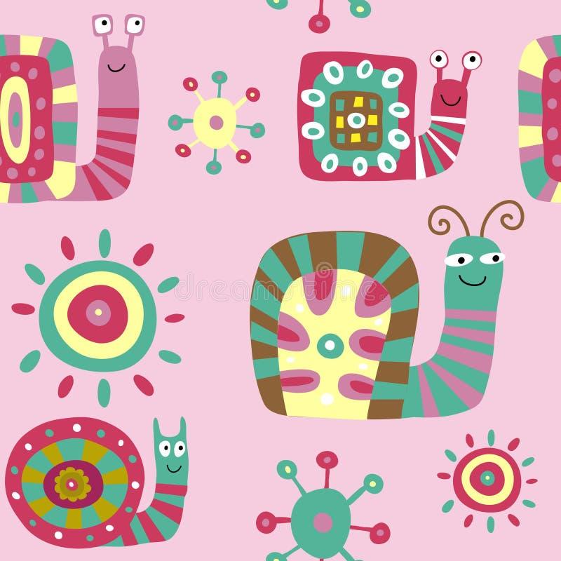 Śliczny dziecka ` s wzór z dekoracyjnymi ślimaczkami na różowym backgro royalty ilustracja