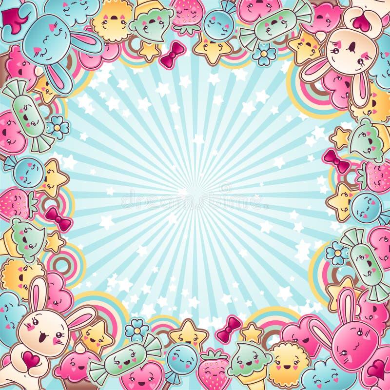 Śliczny dziecka tło z kawaii doodles ilustracja wektor