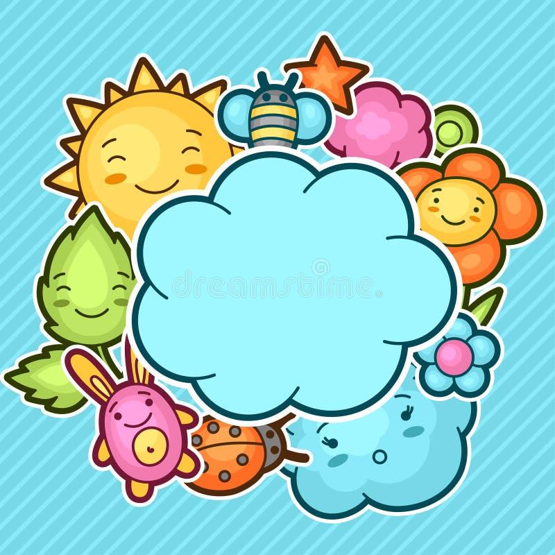 Śliczny dziecka tło z kawaii doodles Wiosny kolekcja rozochoceni postać z kreskówki słońca, chmura, kwiat, liść royalty ilustracja