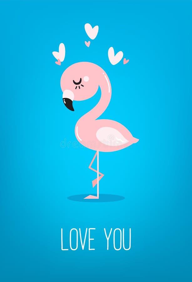 Śliczny dziecko flaming z sercami na błękitnym tle karcianego dzie? szcz??liwi serca target283_0_ s dwa valentine ilustracji