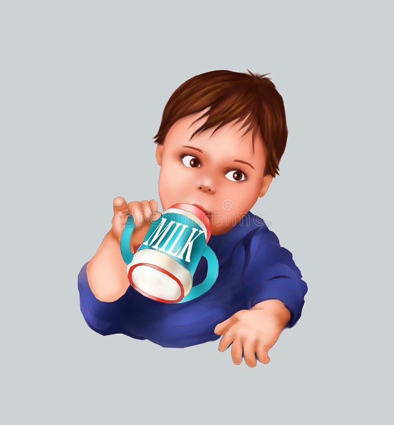 Śliczny dziecko i dziecko butelka, dojny pije dziecko, dziecko, kartka z pozdrowieniami, pocztówkowa dziecka dziecka ilustracja,  ilustracji