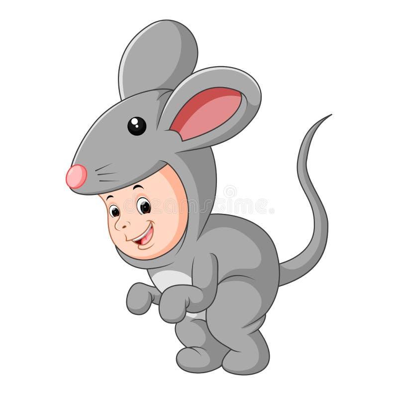 Śliczny dziecko jest ubranym mysz kostium ilustracja wektor