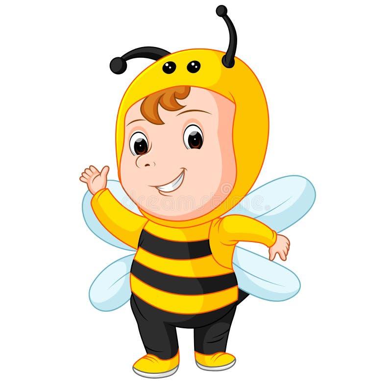 Śliczny dziecko jest ubranym pszczoła kostium ilustracji