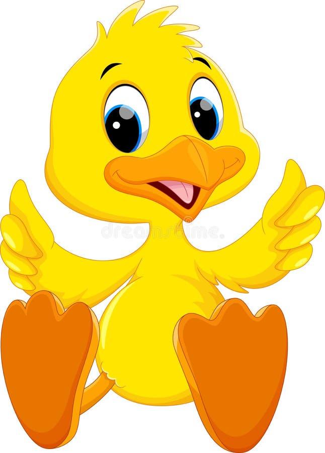 Śliczny dziecko kaczki kreskówki kciuk ilustracja wektor