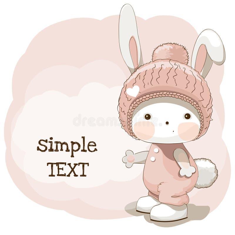 Śliczny dziecko królik w różowym kapeluszu Wektorowy ilustracyjny szablon obrazy stock