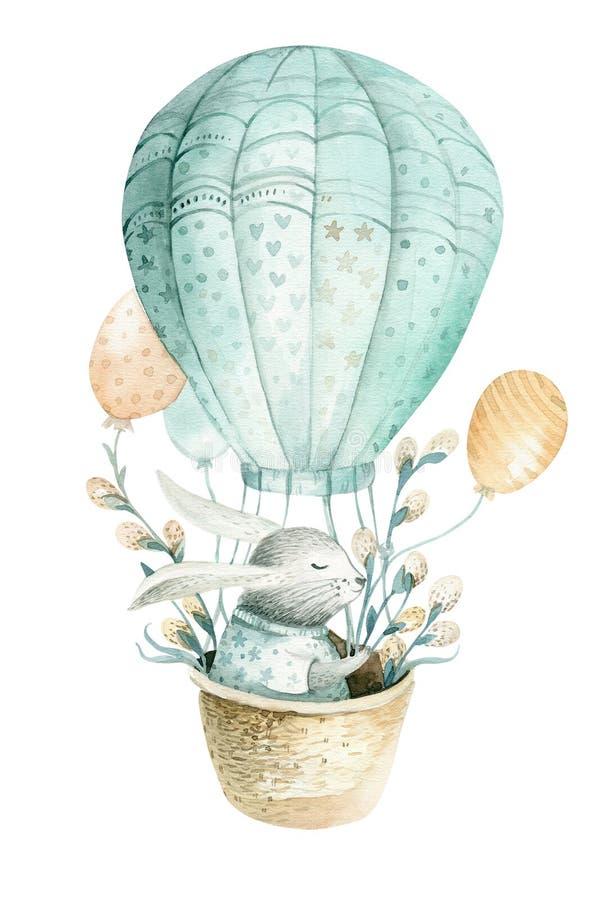 Śliczny dziecko królika zwierzę, lasowa ilustracja dla dzieci odziewać Las akwareli boho ręka rysujący wizerunek dla projekta ilustracja wektor