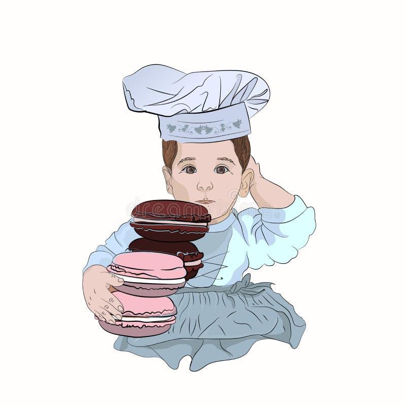 Śliczny dziecko kucharz w chef&-x27; s kapelusz z macaroon ilustracja wektor