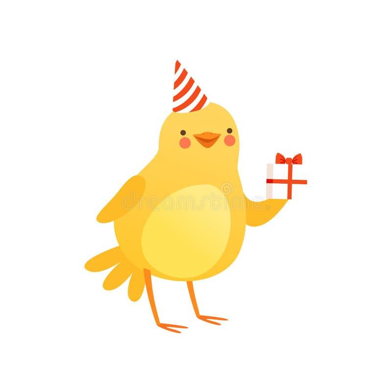 Śliczny dziecko kurczak w partyjnym kapeluszowym mienie prezenta pudełku, śmiesznego kreskówka ptasiego charakteru wektorowa ilus ilustracji