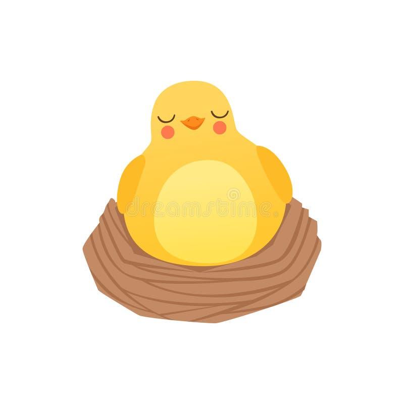 Śliczny dziecko kurczaka dosypianie w gniazdeczku, śmiesznego kreskówka ptasiego charakteru wektorowa ilustracja odizolowywająca  royalty ilustracja