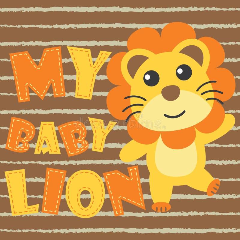 Śliczny dziecko lew na brown pasiastej tło kreskówki ilustraci dla dzieciaka t koszulowego projekta ilustracja wektor