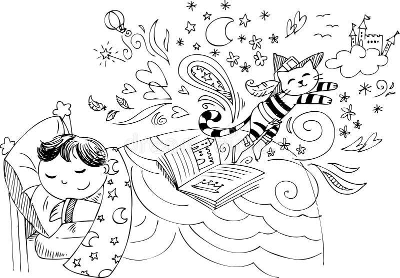 Śliczny dziecko marzy o bajkach ilustracja wektor