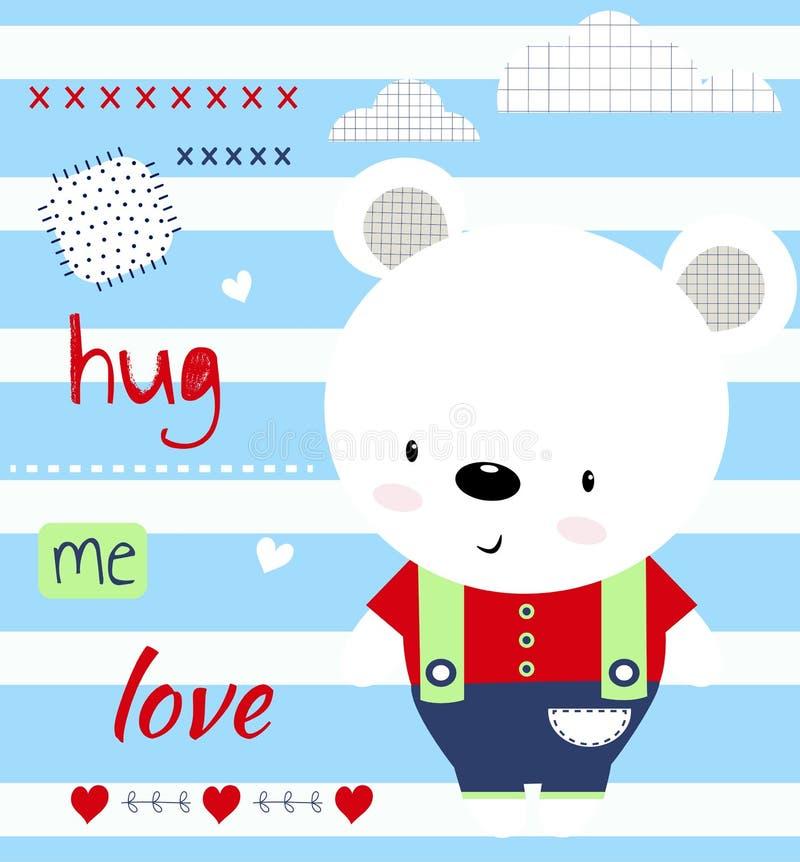 Śliczny dziecko niedźwiedź i wpisowy ściskamy ja miłość Dziecko druk dla dzieci, plakat, dziecko odzież, pocztówka Wektor il royalty ilustracja