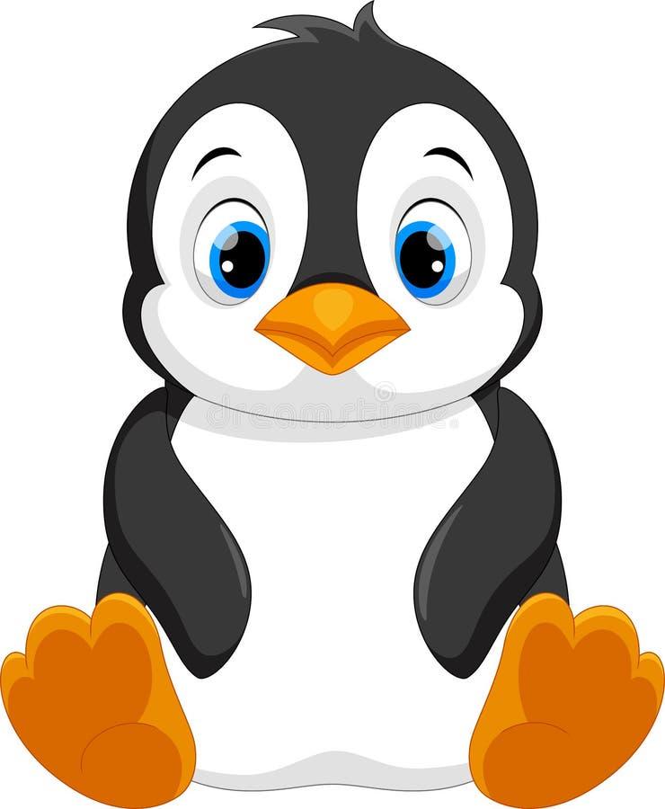 Śliczny dziecko pingwinu kreskówki obsiadanie ilustracja wektor