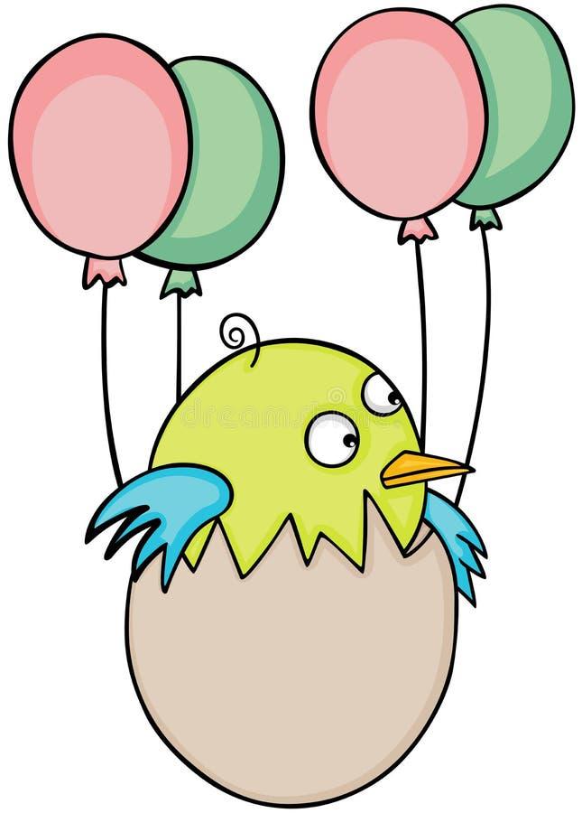 Śliczny dziecko ptak w jajecznym lataniu z balonami ilustracja wektor