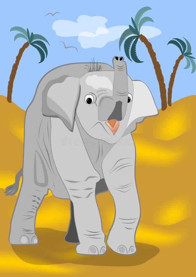 Śliczny dziecko słoń pójść dla spaceru w pustyni ilustracji