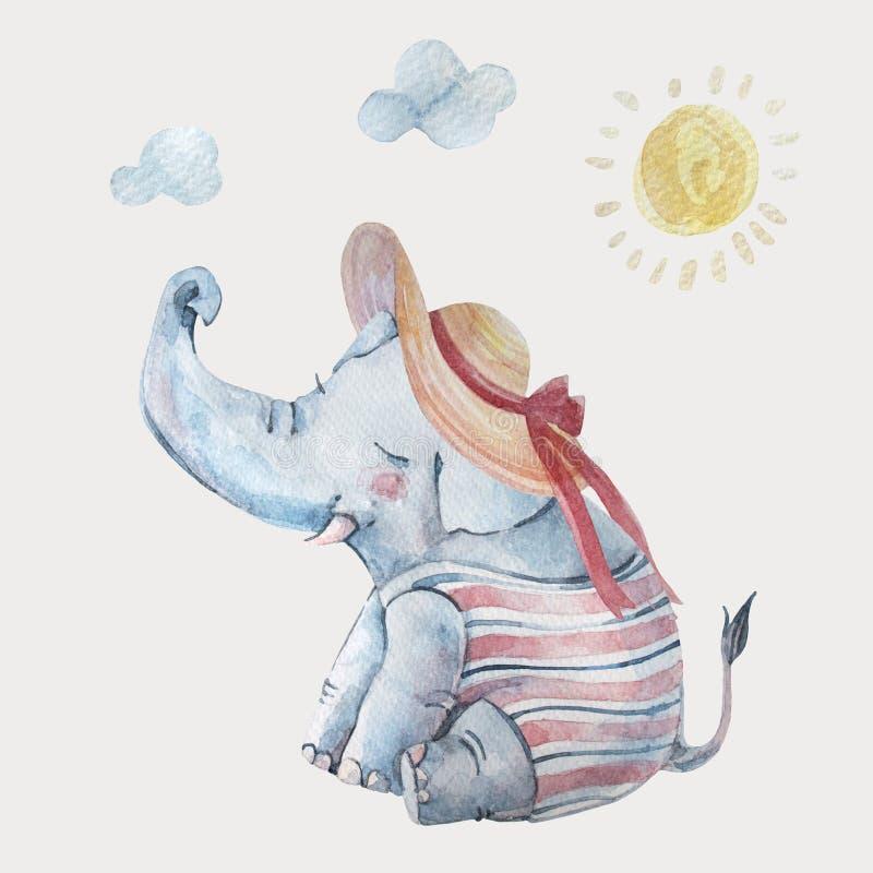 Śliczny dziecko słoń w swimsuite i ampuła być wypełnionym czymś kapelusz pod słońcem odizolowywającym na tle ilustracji