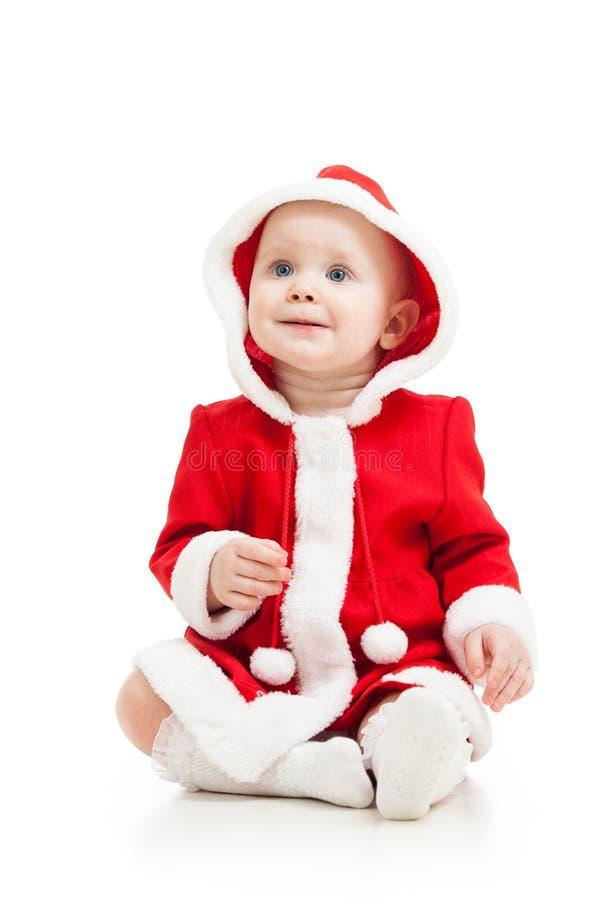 Śliczny dziecko w Święty Mikołaj odziewa zdjęcie stock