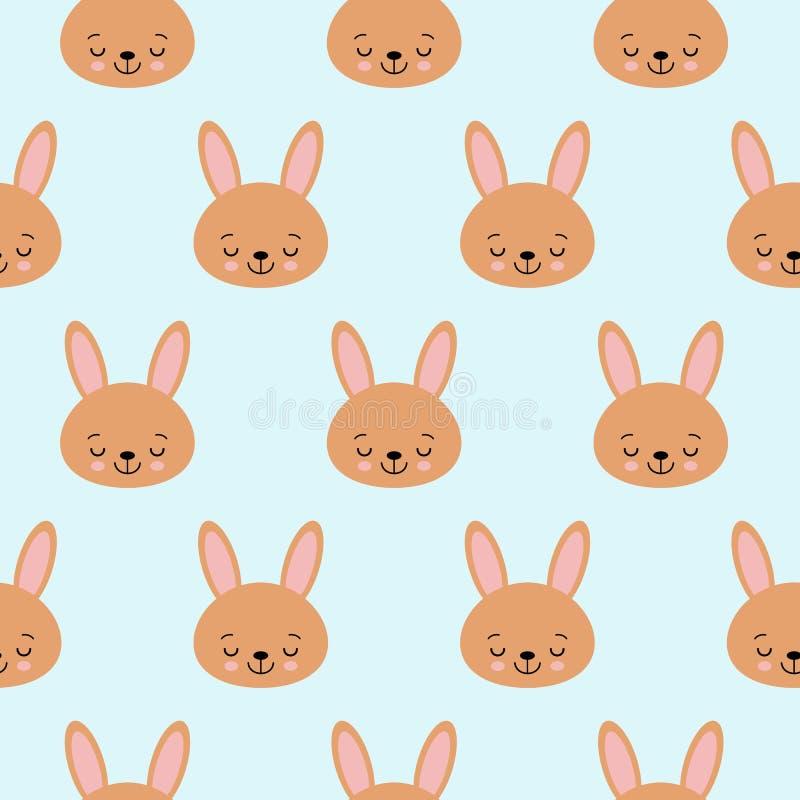 Śliczny dziecko wzór z małym królikiem Kreskówki dziewczyny druku zwierzęcy wektor bezszwowy Słodki tło z królikiem dla dziecko p ilustracji