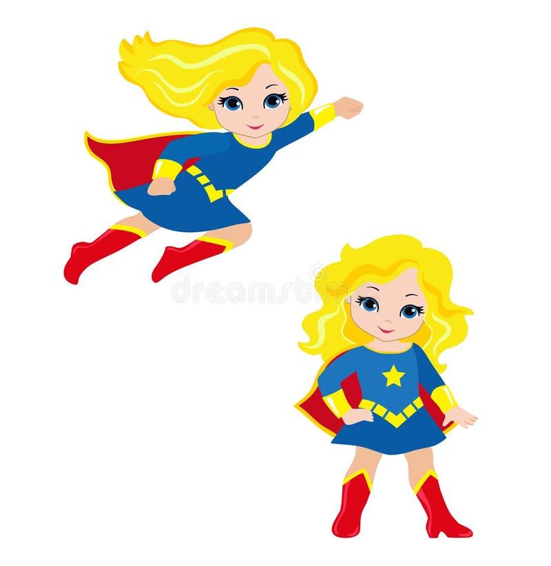 Śliczny dziewczyna bohater w locie w trwanie pozyci i royalty ilustracja