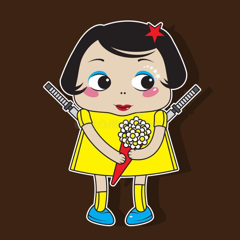 Śliczny dziewczyna charakter z kwiatami w jej kordzikach za ona z powrotem i rękach Majcher, ilustracja dla dzieci niebieski obra ilustracja wektor